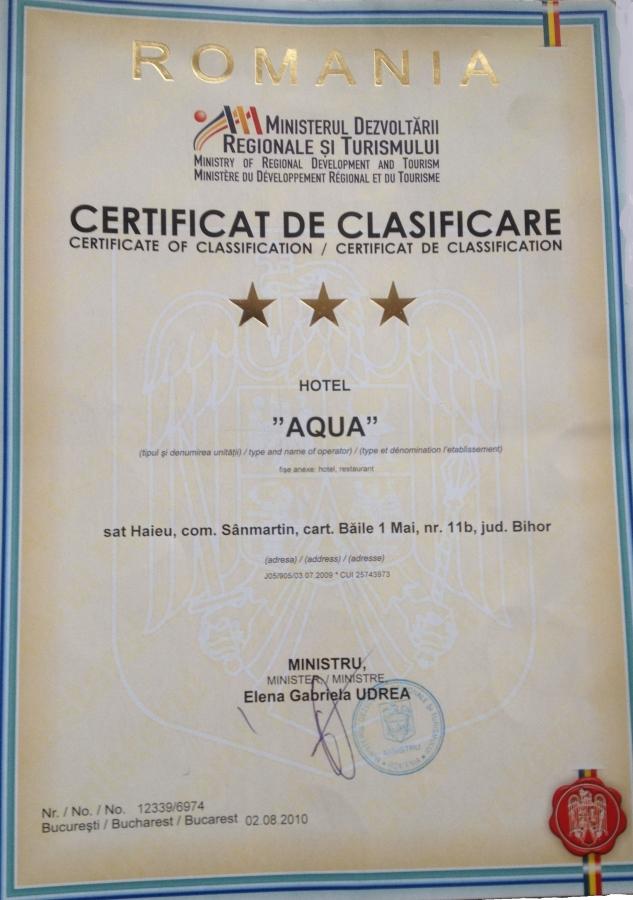 Certificat de clasificare Hotel Aqua
